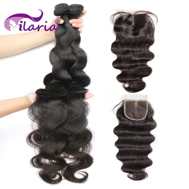 Tissage en lot brésilien Remy avec Closure, Body Wave à Double trame, Extensions de cheveux naturels