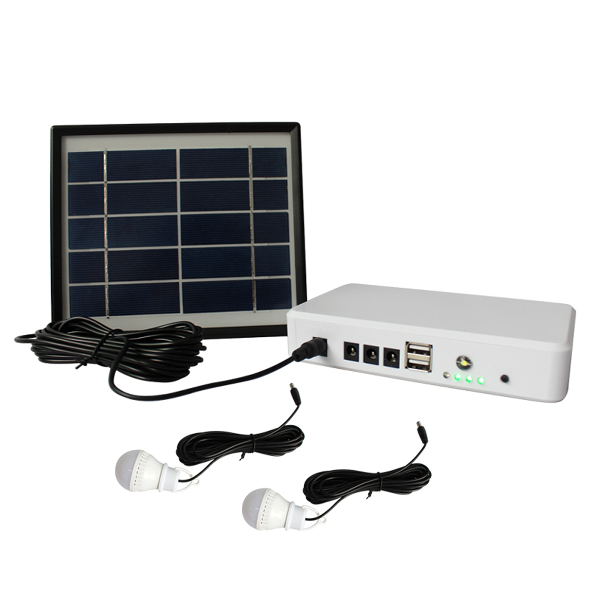 Rechargeable Solar Power Storage Generator with 2 USB Charger and 3 LED Bulbs