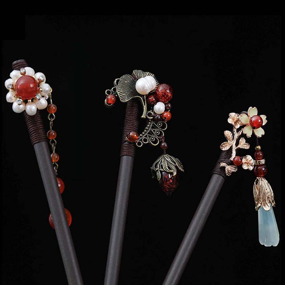 Estilo chinês antigo traje hairpin imitação de madeira jade flor passo balanço garfo de cabelo de madeira menina hanfu headdress