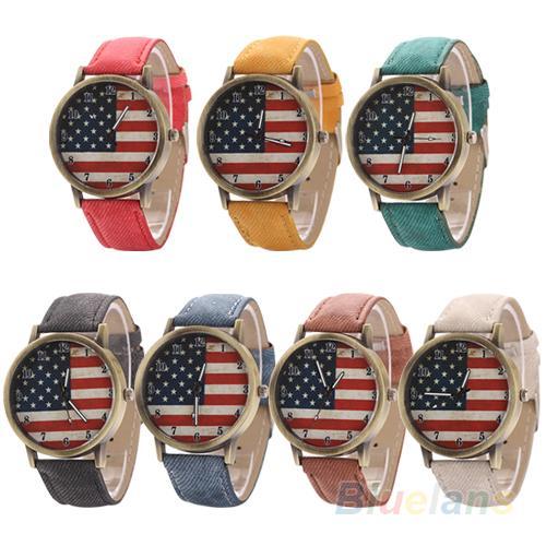 Unisex Vintage United States Flag Dial Denim Band Quartz Analog Wrist Watch