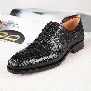 Dress-Shoes Scales Crocodile Alligator Pointed-Toe Formal Male Designer Men's Genuine
