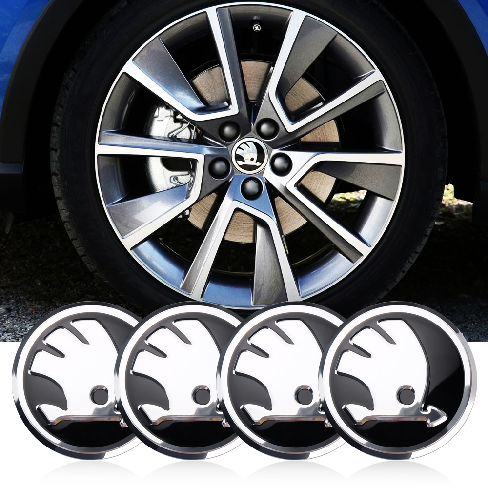 4Pcs 56mm Car Tire Wheel Center Hub Cap Badge Sticker Decoration Emblem For Skoda Fabia Rapid Yeti Superb Octavia A 5 A 7 2