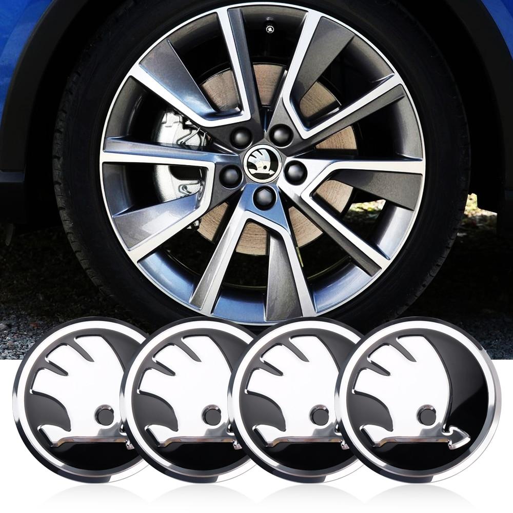 4Pcs 56mm Car Tire Wheel Center Hub Cap Badge Sticker decoration Emblem For skoda fabia rapid yeti superb octavia a 5 a 7 2