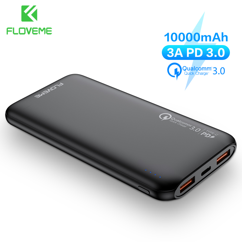 FLOVEME PD PowerBank 10000mAh External Battery Portable Charger For Iphone 11 Pro Max Xiaomi 9 Mi Quick PD Charge Power Bank Qc4