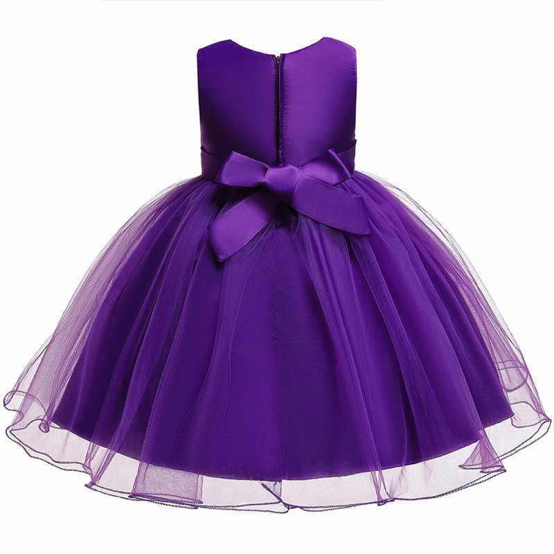 בנות רקום חדש פלאפי שמלת תינוק ילדה 1 בת יום הולדת ללבוש פעוט ילדה תחרה בשמלת טבילה