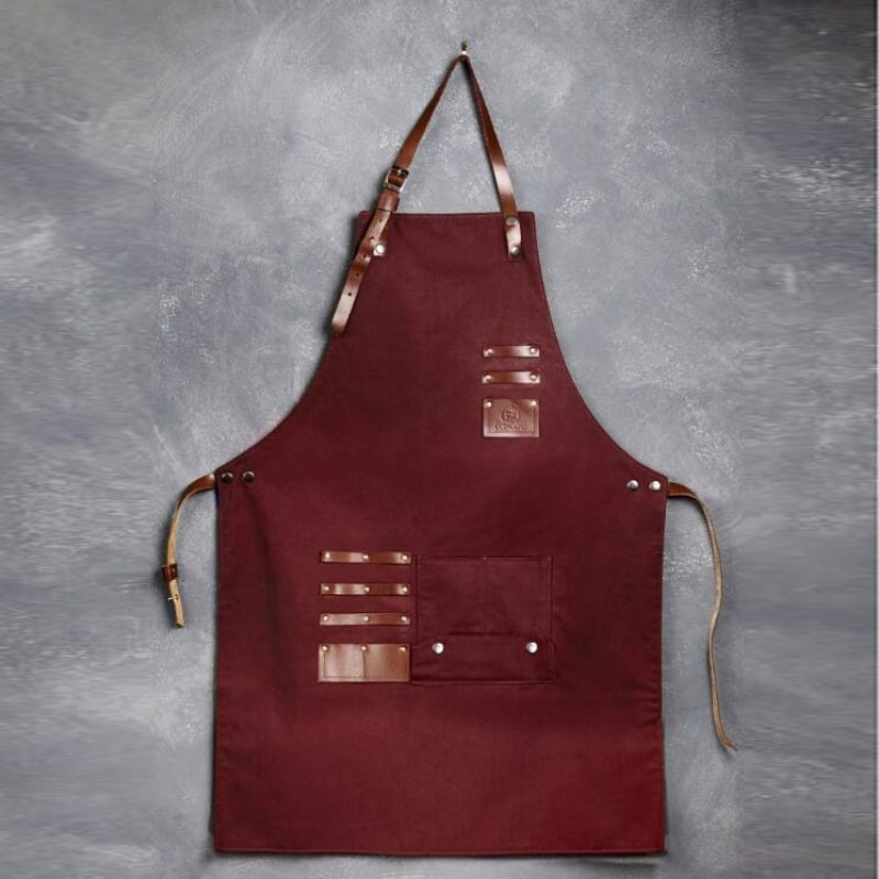 Canvas Apron With Cross-Back Straps & Adjustable Storage Apron With Genuine Leather Adult Bib Heavy Duty Tool Pockets