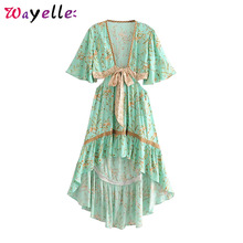 Boho Beach Dresses Summer  V-Neck Vintage Floral Print Women Dress Clothes 2019 Sashes Asymmetrical Backless
