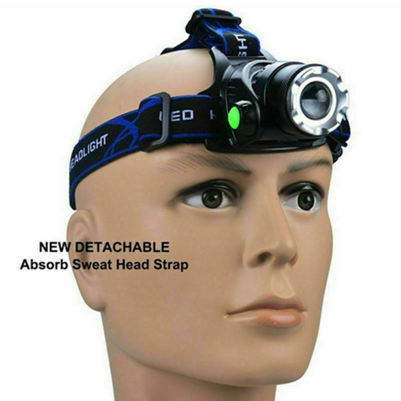 LED Headlamp Fishing Headlight  3x T6 LED Zoomable Waterproof Super Bright Camping Light Powered By 2x18650 Batteries