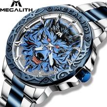MEGALITH الرجال الموضة الذئب رئيس تنقش ساعة ماركة فاخرة الفولاذ المقاوم للصدأ ساعة معصم الرياضة الجيش العسكرية ساعات كوارتز ساعة