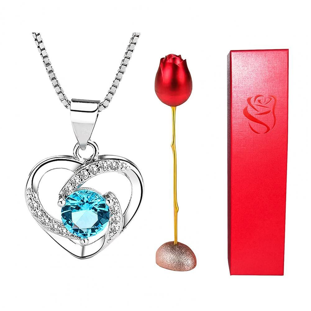 Rose Necklace with Storage Box Rose Set Heart Shape Rhinestone Pendant Necklace with Storage Box Rose Valentine's Day Gift Set 1