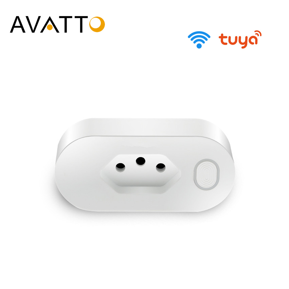 AVATTO  16A Brazil Standard Wifi Smart Plug with Power Monitor Smart Life APP Smart Socket Voice Works for Google Home Alexa