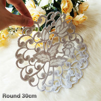 Exquisite Hand Crochet Hollow Round Placemat Coaster Balcony Coffee Table Mat Vase Dish Pad Christmas Wedding Decoration Cloth