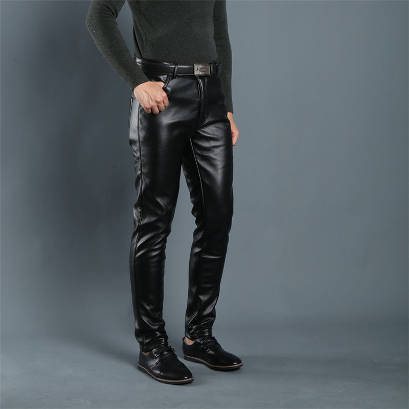 Spring Summer Men Leather Pants Elastic High Waist Lightweight Casual PU Leather Trousers Thin Causal Trousers 6