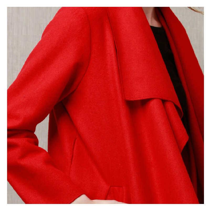 JAZZEVAR 2019 חדש סתיו גבוהה אופנה נשים של צמר תערובת מעיל גשם מזדמן ארוך הלבשה עליונה רופף בגדי עבור גברת 860103