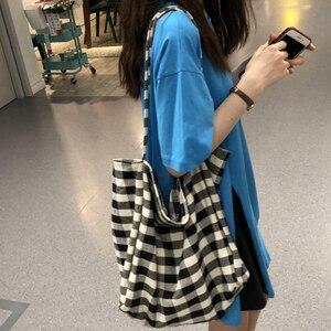 Fashion Linen Plaid Tote Bag For Women Large Capacity Lady Shoulder Bag Shopping Foldable Handle Bag Reusable Handbag bolso