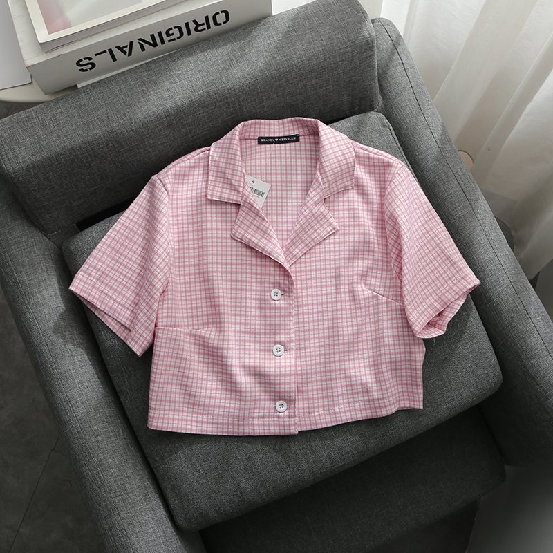 Soft Girls Pink Plaid Short Shirts 2020 Fashion Ladies Elegant Casual Shirt Streetwear Girls Bomb Tops Femme Vintage Women Chic