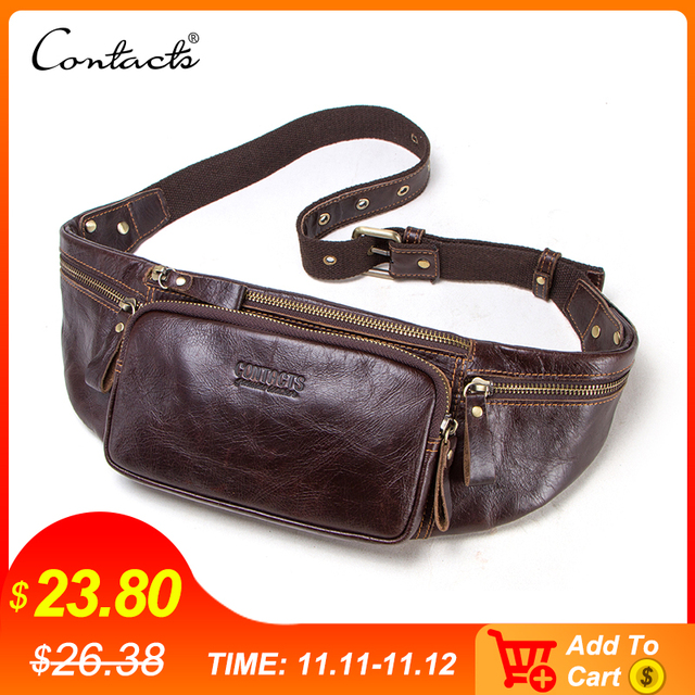 CONTACTS Cow Leather Men Waist Bag New Casual Small Fanny Pack Male Waist Pack For Cell Phone And Credit Cards Travel Chest Bag
