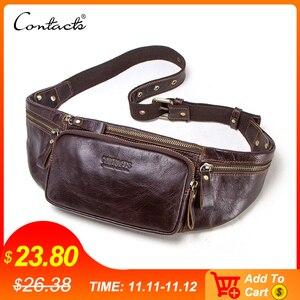 Image 1 - CONTACTS новая кожаная талия сумка из натуральной кожи для мужчин и мужчин, дорожная сумка для мобильного телефона и кредитных карт 2019