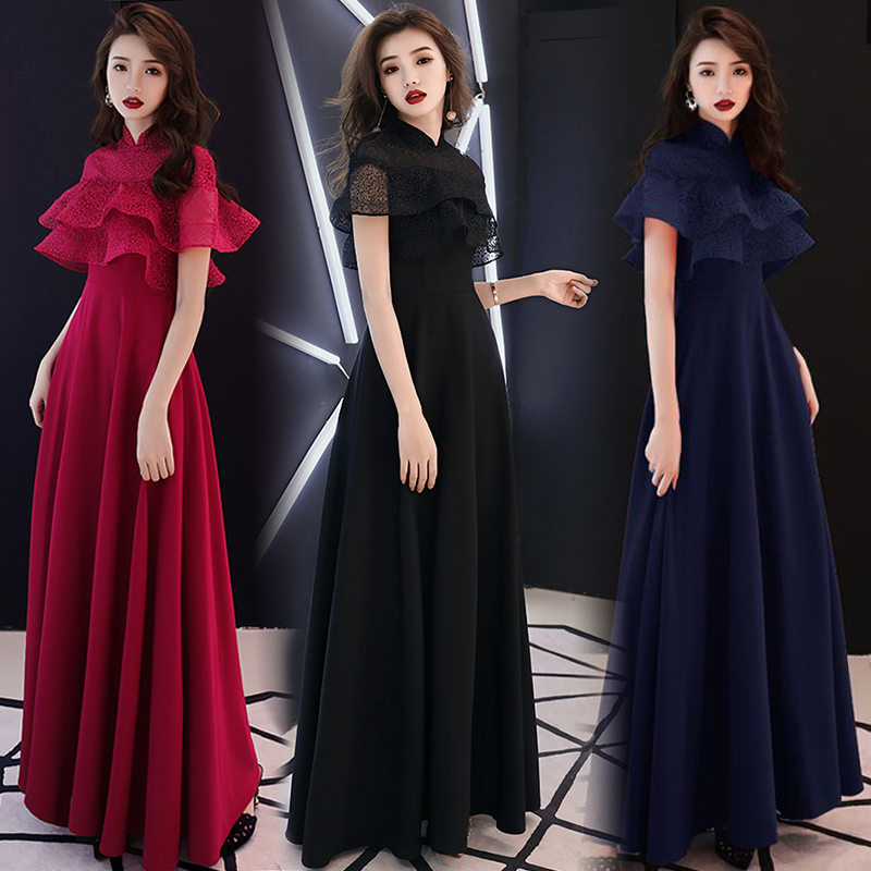 Red Ruffles Burgundy Bridesmaid Dresses Royal Blue Guest Wedding Party Dresses Long Floor Length Black For Dinner Vestidos Mujer