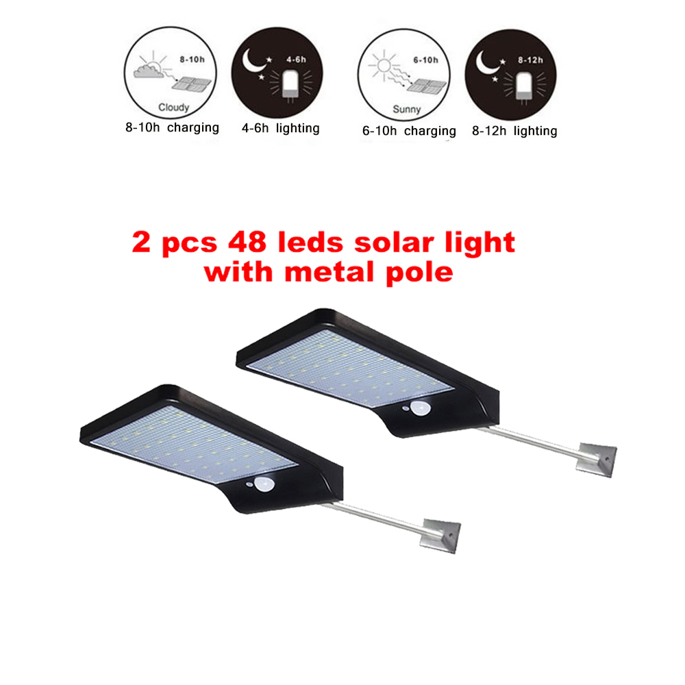 2/4pcs 48 LED Solar Lamp Human Body Induction Wall Light 3 Modes Dimmable Outdoor Garden Yard Path Lamp With Remote Control Secu