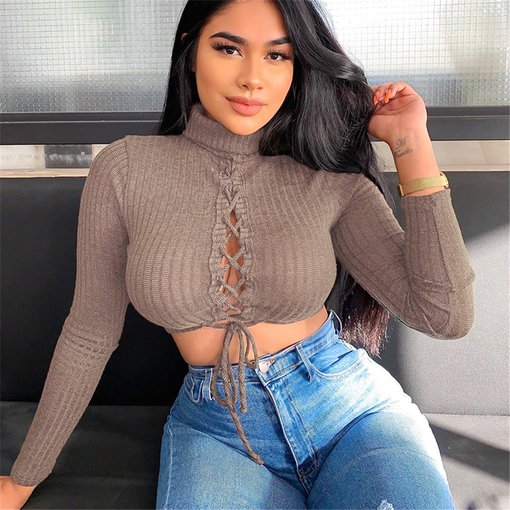 Three Ratels Solid Brown Strap Ribbed Blouse Long Sleeve Crop Top Womens Trend Comfortable Casual Cropped