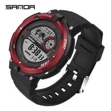SANDA, топ класса люкс, аналоговые цифровые военные армейские мужские электронные часы, мужские часы, спортивные цифровые светодиодный водонепроницаемые наручные часы