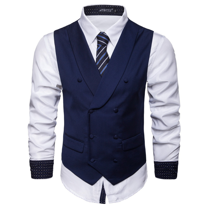 S-6XL New Men's Cotton Blend Business Slim Suit Vest Plus Size Casual Solid Color Double-breasted Vest For Male Grey Black Blue