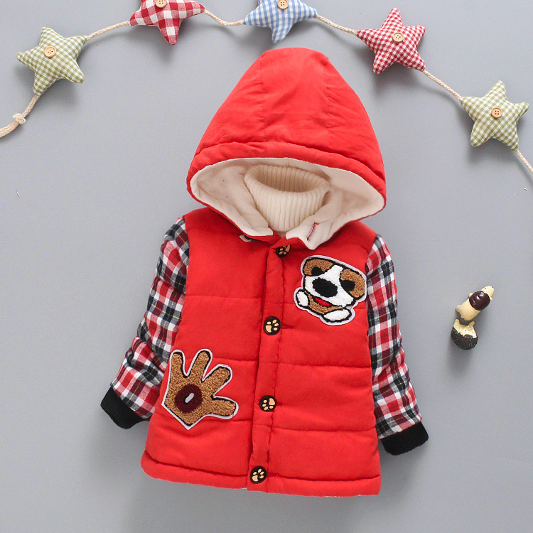 Autumn&winter Coat Plus Velvet Thicke Korean Version of The Boy 1-3 Years Old Girl Plus Velvet Thick Cotton Puppy Cotton Jacket