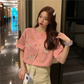 Sequins Embroidered Short Sleeved T Shirt Top Loose Cute Anti Aging Heavy 2021 New Style Women's Fashionable Temperament Wild