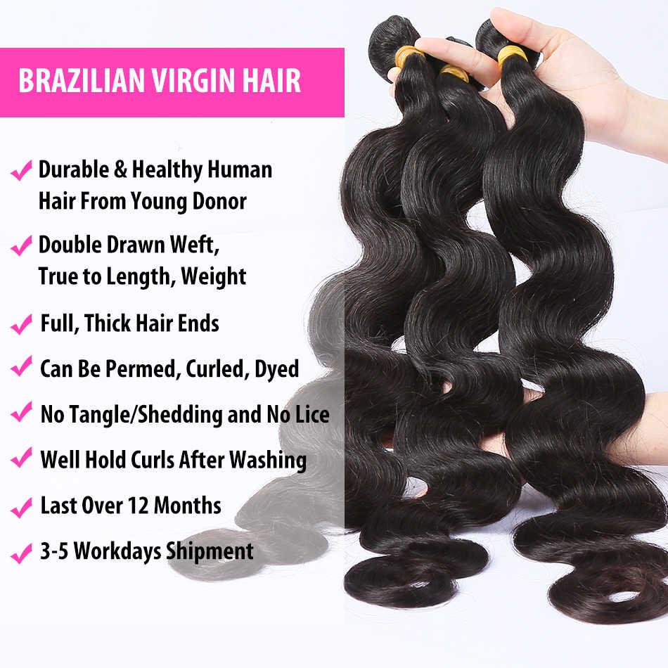 Luvin 28 30 32 34 40 Inch Braziliaans Haar Weave 3 4 Bundels Met 13X4 Kant Frontale En sluiting Remy Lichaam Wave 100% Menselijk Haar