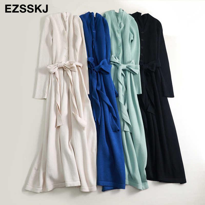 Herfst winter v-hals maxi trui jurk vrouwen OL vrouwelijke lange trui jurk met riem elegante a-lijn solid slim jurk