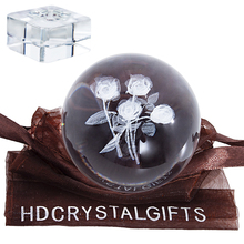 Bouquet Crystal Ball-Figurines Laser Engraved Sphere Rose Home-Decoration 3D H--D Collection