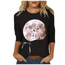 2021 spring and autumn casual women's clothes 3D printing round neck long-sleeved T-shirt fashion ladies tops 4XL 5XL