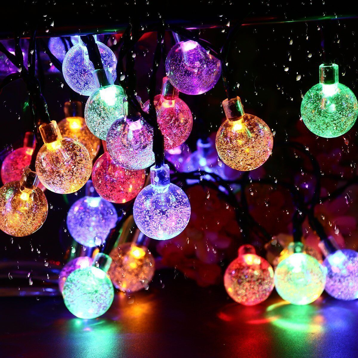 12M LED Crystal Bubble Ball Solar Waterproof Outdoor String Lights Solar Powered Globe Fairy String Lights For Festival Outside