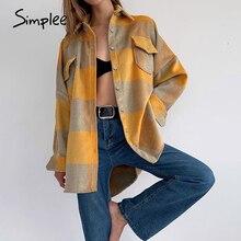 Simplee Streetwear loose plaid shirt jacket ladies Casual autumn women coat female shirt Buttons pockets tweed short coats 2020