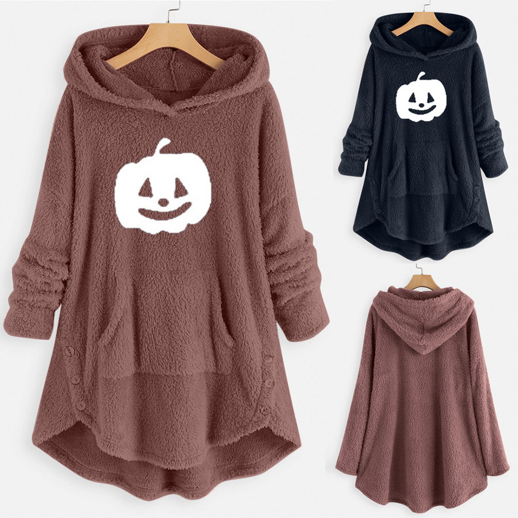 Hot Winter Plus Size S-5XL Women Button Coat Fluffy Tail Tops Hooded Pullover Loose Oversize Coats Warm Outwear For 2020 Fashion