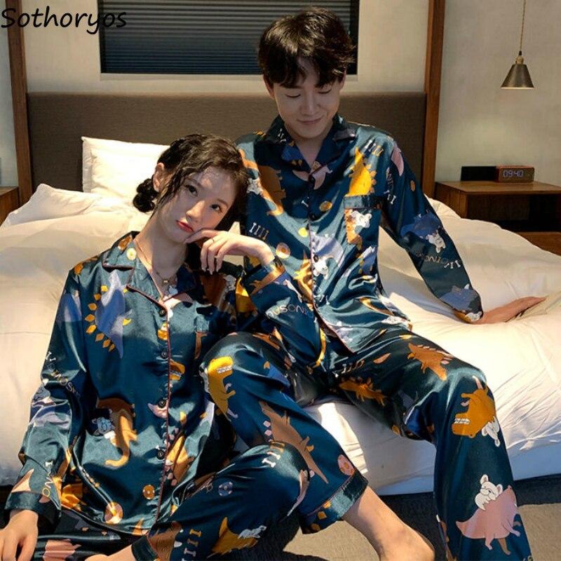 Pajama Sets Couples Long Sleeve Turn-down Collar Rayon Cardigans Sleepwear Korean Style Casual Loose 2pcs Womens Pyjamas Ulzzang