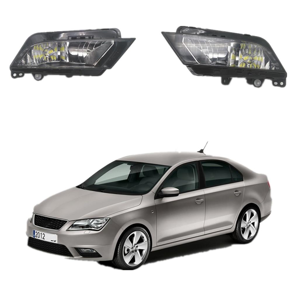 2pcs  Car LED Light For Seat Toledo 2013 2014 2015 2016 2017 Car-styling Front Bumper LED Fog Light Fog Lamp