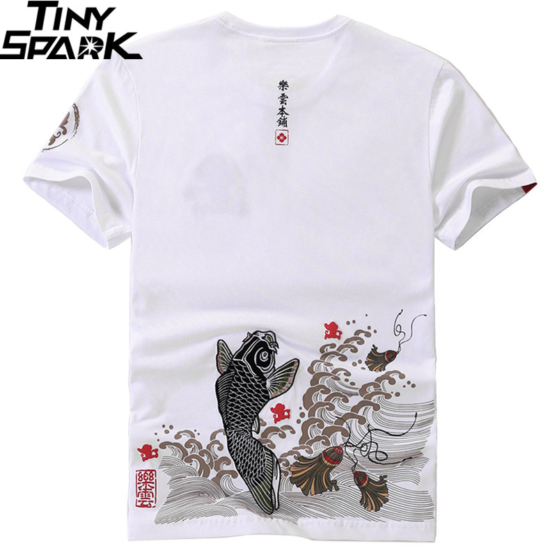 2019 Japanese Streetwear T Shirt Embroidery Fish Mens Harajuku T-Shirt Money Print Tshirt Hip Hop Tops Tees Cotton Short Sleeve