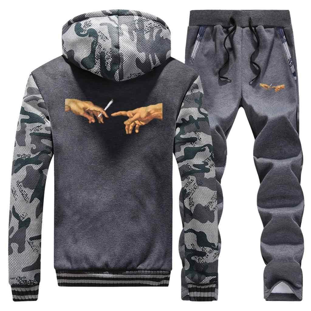 Gorąca sprzedaż zima mężczyzna palenia nadruk w stylu vintage Streetwear Hip Hop kamuflaż mężczyzna modny płaszcz gruba bluza z kapturem + spodnie 2 częściowy zestaw
