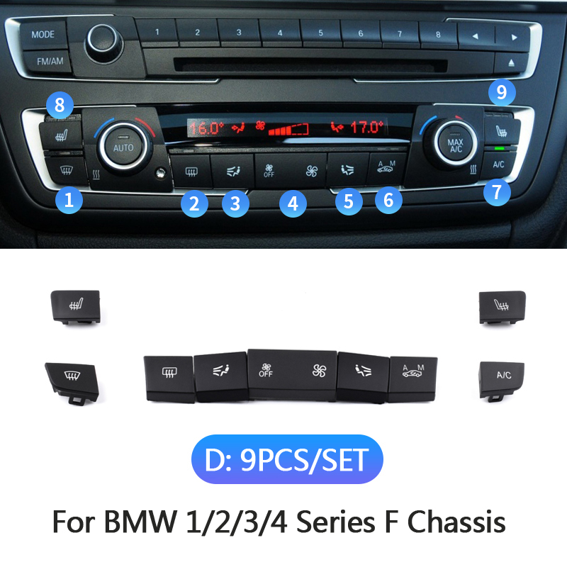 BMW F01 F02 F04 F10 F11 F18 A//C HEATER CLIMATE CONTROL PANEL HVAC BUTTON 2 PCS