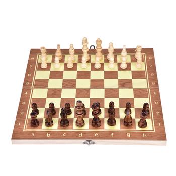 Praktyczna przenośna wysokiej jakości drewniana szachownica szachy składana tablica gra w szachy nadaje się do imprez rodzinnych tanie i dobre opinie cycle zone 6 lat Drewniane Szachy warcaby foldable chessboard Chess Set
