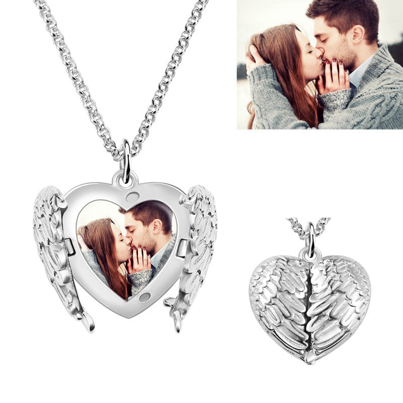 AILIN Personalized Angel Wings Necklace Photo Jewelry For Her Engraved Necklace Anniversary Gift