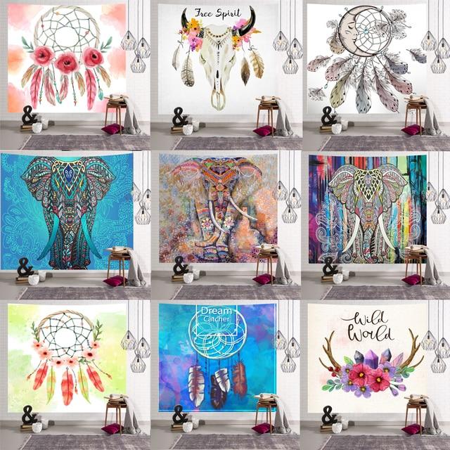 الفيل نسيج الجدار الشنق الحيوان سجادة للحائط التوأم بساط هيبي البوهيمي الهبي ديكور المنزل المفرش