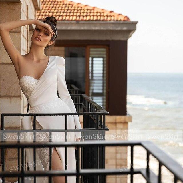 Chic Beaded Satin Wedding Dress New 2 In 1 Long Sleeve Mermaid Bridal Gown Court Train Princess SwanSarah P150 Vestido De Novia 4
