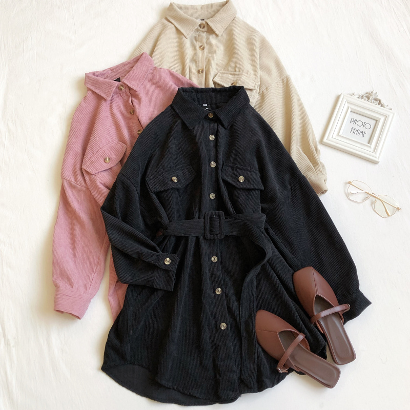 Autumn/Spring 2020 New Style Retro Corduroy Shirt Dress High Waist Loose Casual Dress Woman