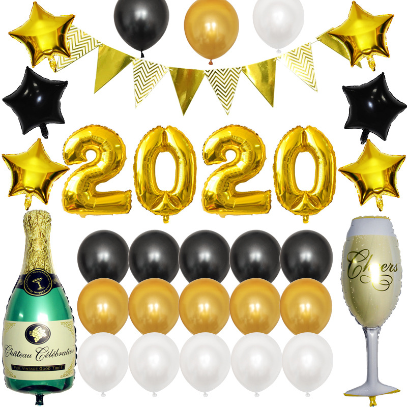 2020 Number Foil Balloon Gold/silver Digit Helium Baloons  Birthday Party Happy New Year Christmas Party Decor Cartoon Hat