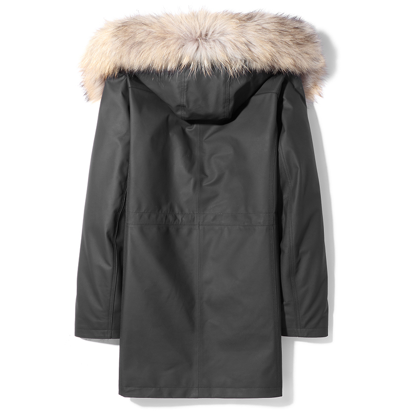 Cow Men Mink Mens Leather Jacket Raccoon Collar Winter Coat Real Fur Parka MA2201HF621 YY1123