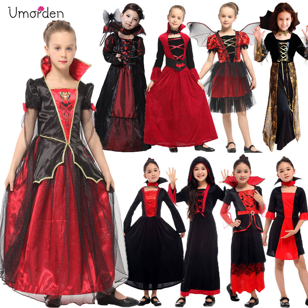 Umorden Gothic Vampiress Cosplay Girls Vampire Costume Kids Girl Collection Halloween Christmas Purim Party Fancy Dress