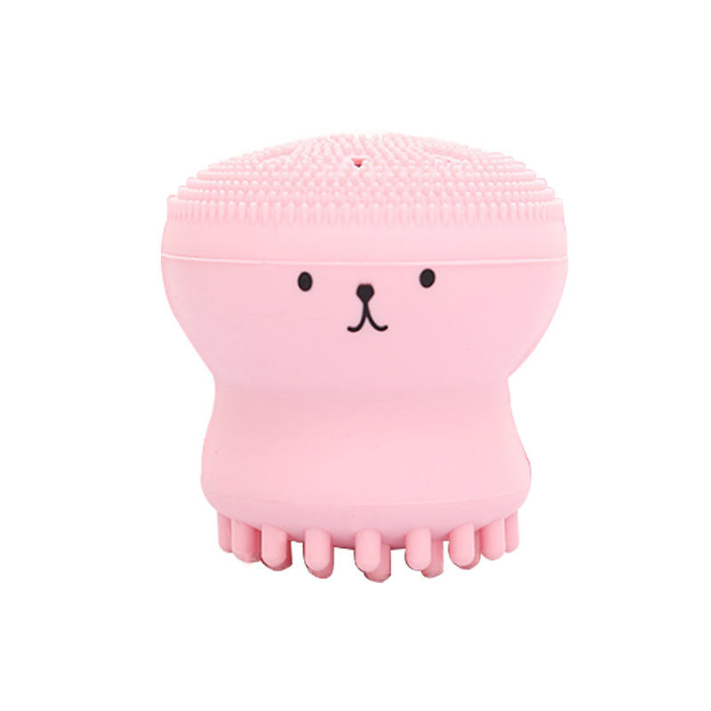 Wash Face Exfoliating Cute Pink Brush Cleaning Pad Facial Spa Skin Pore Cleanser Small Octopus Shape Silicone Care Tool TSLM1